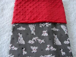 Dalmatians Grey Cotton Front Red Minky Reversible Baby Blanket Handmade