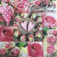 PAPER NAPKINS / SERVIETTES PACK OF 20 PINK ROSE WITH HEARTS DESIGN