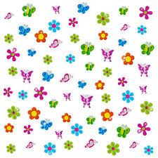68 x Glitzer Sticker Blumen & Schmetterlinge bunt - Kinder Scrapbooking