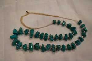 Vintage Navajo Natural Blue Turquoise Nugget Beaded Necklace Rare*****