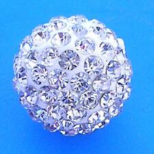 Wholesale 100 Pcs Cz Crystal Shamballa Beads Pave Disco Balls 12MM white