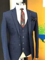 Plaid Jacket Coat Vest Men Suits Wedding Slim Fit Groom Tuxedos Notch Lapel
