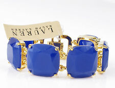 Lauren Ralph Lauren Gold Tone Faceted Blue Resin Cushion Stone Flex Bracelet