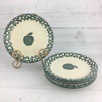Tienshan FOLK CRAFT APPLE Green Sponge Stoneware Round Salad Plates Set Of Six