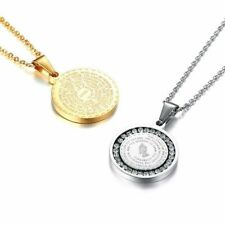 Stainless Steel Rhinestone Bible Text Prayer Tag Pendant Necklace Chain Medalion