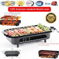 Electric Grill Portable Smokeless Non-Stick Cooking BBQ Griddle Indoor & outdoor
