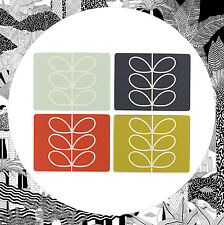 Orla Kiely Linear Stem Placemats- Set of 4 Table Mats Retro Leaf Flower Pattern