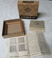 "Vintage DONAR 4"" Wood WEAVE-IT LOOM Original Box Instructions Yarn Craft Weaving"