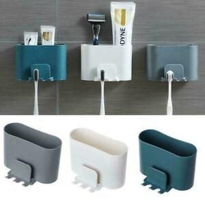 Toothbrush Holder Punch-free Wall-mounted Shaver Toothpaste Cups Racks Q9Z2