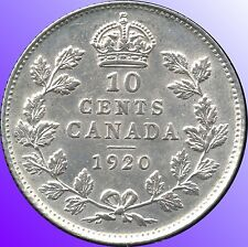 1920 Canada 10 Cent Silver Coin (2.32 Grams .800 Silver)