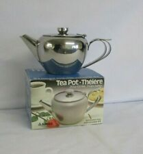 Stainless Steel Tea Pot, 3 Cup, Vintage but New in Box, Double Handle, Sunnex