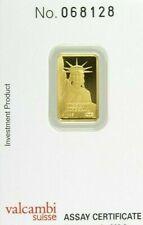 2 GRAM - PURE GOLD BAR - CREDIT SUISSE - STATUE of LIBRRTY - ASSAY - $9.99 - BID