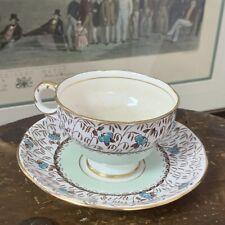 Vintage Adderley Fine Bone China England~ Mint & Blue Floral Teacup & Saucer~EVC