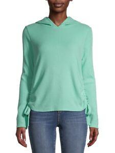Women's Jrs No Boundaries Long Sleeve Mint Green Hoodie Sweater Tie Side Lg #BLB