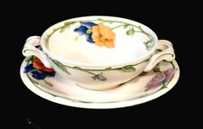 Beautiful Villeroy Boch Amapola Footed Cream Soup Bowl And Saucer