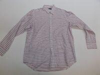 "RALPH LAUREN Long Sleeved Shirt in Pink/White Stripe Collar 16"" Large L  (fj84)"
