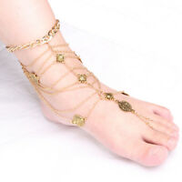 Boho Coin Tassel Barefoot Sandals Beach Anklet Foot Chain Jewelry Ankle Bracelet