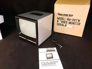 "Crest VM-09TW B&W 9"" CRT Video Monitor Display CCTV - NEW OLD STOCK!"
