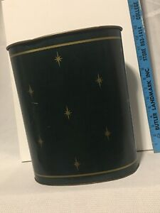 Vintage MCM Harvell Metal Green & Gold Atomic Starburst Trash Can Waste Basket