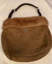 1d15cec436d0 Prada Montone Visone Brown Tan Mink & Shearling Fur Croc Hobo Shoulder  Handbag