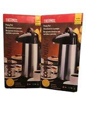 LOT (2) Thermos Pump Pot Glass Vacuum Insulated 2 Quart Mat Black