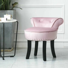 Modern Makeup Padded Stool Vanity Accent Dressing Chair Fabric Living Room Pink