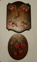 HAND PAINTED On WOOD PLAQUE & WALL CLOCK Strawberries blossoms Vintage picture