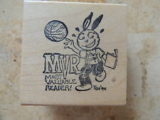 ~ Most Valuable Reader ~ rubber stamp - 1994 For Kid Stamp 2 X 2
