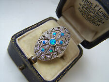 STUNNING VINTAGE STERLING SILVER OPAL & SEED PEARLS RING SIZE L UNUSUAL & RARE