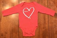 NWOT Old Navy Baby Girl Red Long Sleeve Sweetheart Bodysuit - SIZE 6-12 MOS