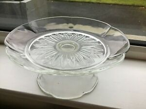 Vintage Cake Stand Glass Footed Italian Floral Shape design
