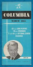 MARCH 1954 COLUMBIA RECORDS BROCHURE / CATALOGUE BOOKLET