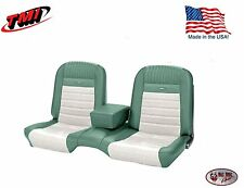 Deluxe PONY Seat Upholstery Mustang Coupe Front/Rear Bench - Turquoise & White