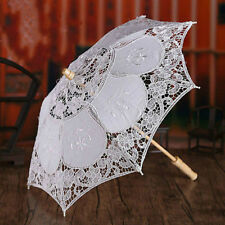 Beauty White Lace Embroidered Parasol Umbrella Bridal Wedding Party Decoration