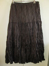 Ladies Suzanne Grae Size 10 Brown Skirt Crumpled Crinkled Look Full & Sheen