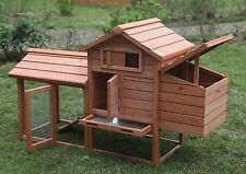 "Deluxe 58"" Wood Chicken Coop Hen House Rabbit Hutch Pet Cage w Run Nesting Box"