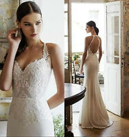 White/Ivory Lace Chiifon Wedding Dress Backless Bridal Gown size4+6+8+10+12++++