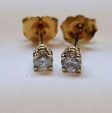 14K YELLOW GOLD DIAMOND STUD EARRINGS.  0.25 CARAT T.W. ROUND WHITE DIAMONDS!!