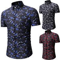 Men Feather Print Business T-Shirt Short Sleeve Slim Fit Casual Blouse Shirt Top
