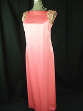 EMMA DOMB Vtg 60s Bright Pink Beaded Rhinestone Dress & Coat-Bust 37/S-M