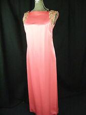 EMMA DOMB Vtg 60s Bright Pink Beaded Rhinestone Dress & Coat-Bust 37/S-M