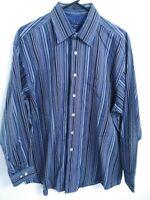 Ted Baker London Mens Size 16 1/2 32/33 Blue Gray Striped Button Up Dress Shirt