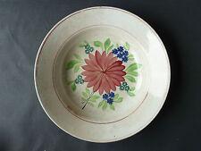 Antiguo plato de cerámica con decoración flor art popular french antiguo