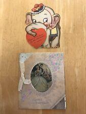 2 Vintage Unused VALENTINES DAY CARDS 1950s (?) Original Clear Envelope