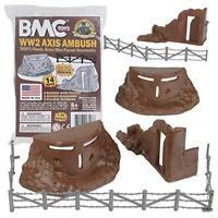 BMC Classic Marx Axis Ambush - 14pc Brown Plastic Army Men Playset Accessories