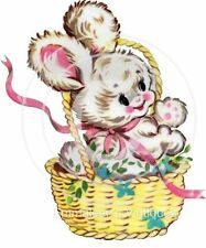 Vintage Image Shabby Baby Easter Bunny In Basket Waterslide Decals EAS305