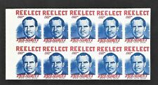 Nixon Presidential Campaign Stamps Pane of Ten (10)  MNH