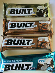 BUILT BAR 2 Caramel Brownie 1 Coconut Almond 1 Cookies n Cream 4 Bars exp 12/21