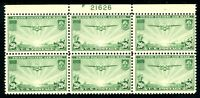 USAstamps Unused FVF US 1937 Airmail Clipper Plate Block of 6 Scott C21 OG MNH