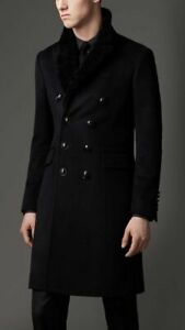 100% Authentic BNWT Burberry London Longline Wool Coat With Shearling Collar 44